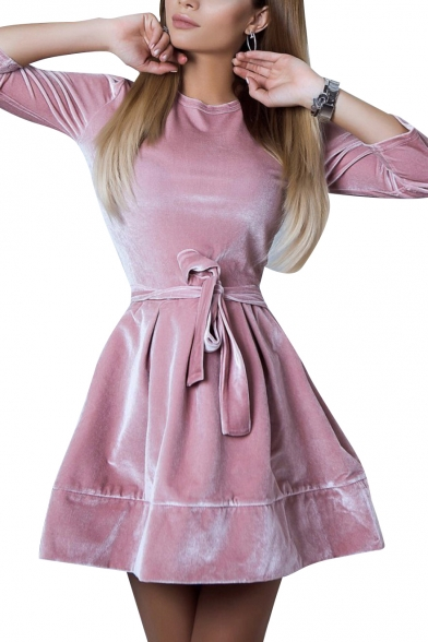 Ladylike Round Neck Long Sleeve Plain A-line Mini Dress