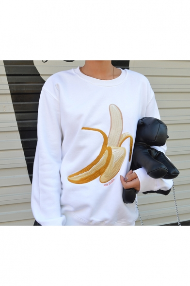 Leisure Long Pullover Round Banana Embroidery Neck Sleeves Sweatshirt Pattern rftqrACw