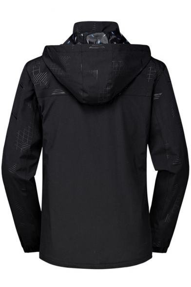 Leisure Long Sleeve Zipper Hooded Print Sport Windproof Coat