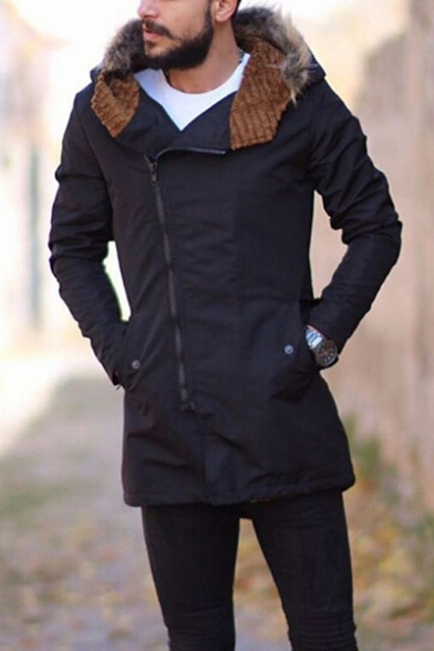 Leisure Long Sleeves Zip-up Faux Fur Trimmed Hooded Coat with Pockets