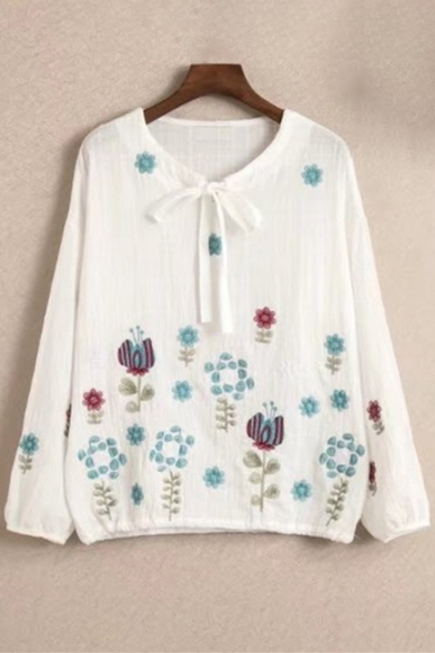 New Arrival Floral Embroidery Tie Neck Long Sleeve Loose Blouse