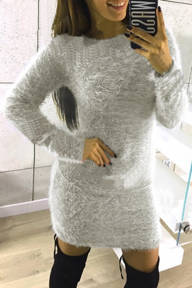 New Arrival Plain Round Neck Long Sleeve Furry Mini Dress