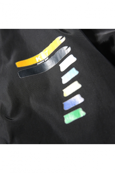 New Fashion Stand-up Collar Color Block Long Sleeves Zippered Baseball Jacket
