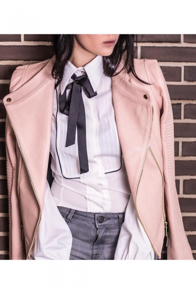 New Stylish Bow Tie Front Lapel Long Sleeve Slim-Fitted Shirt