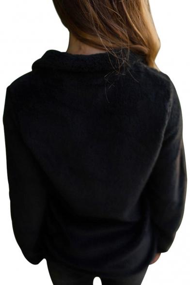 Up Plain Long New Simple Sleeve Zip Jacket Stylish BawfqPzZ