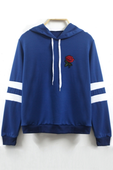 Popular Floral Embroidery Striped Long Sleeves Pullover Hoodie with Drawstring