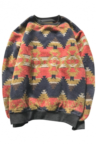 Retro Color Block Tribal Print Long Sleeve Round Neck Pullover Sweatshirt