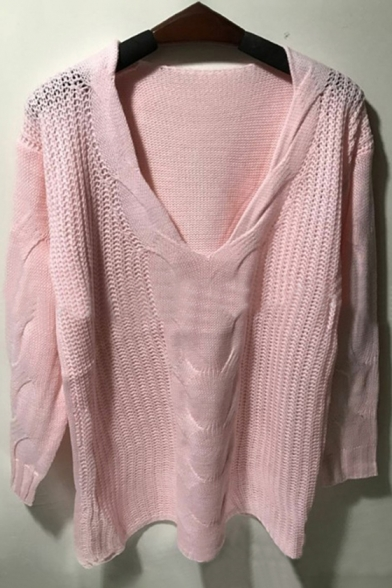 One Sexy Sleeves Sweater Perforated Loose Shoulder Pullover Long wROdwqr