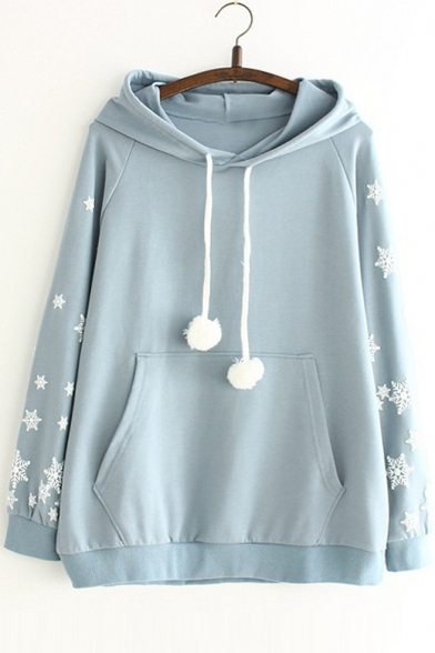 Simple Snowflakes Pattern Long Sleeves Pullover Hoodie with Pocket & Pompoms