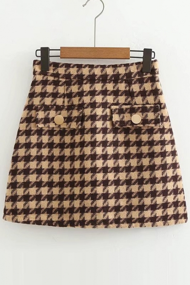 Stylish Houndstooth Pattern Mini A-line Skirt with Double Flap-Pockets