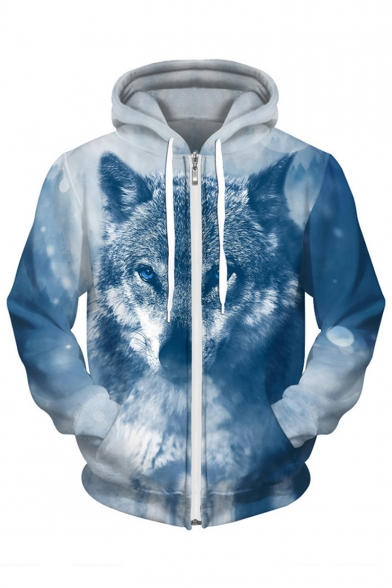 with Stylish Pattern Snow Wolf Zippered Long Tibetan Pockets Hoodie Sleeves wwAq8vT