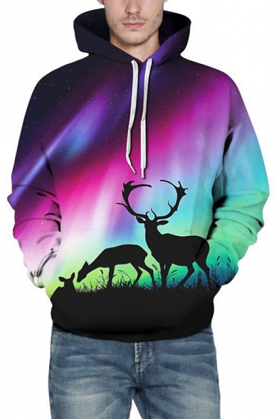 Trendy Deer Aurora Galaxy Ombre Pattern Long Sleeves Pullover Hoodie with Pocket