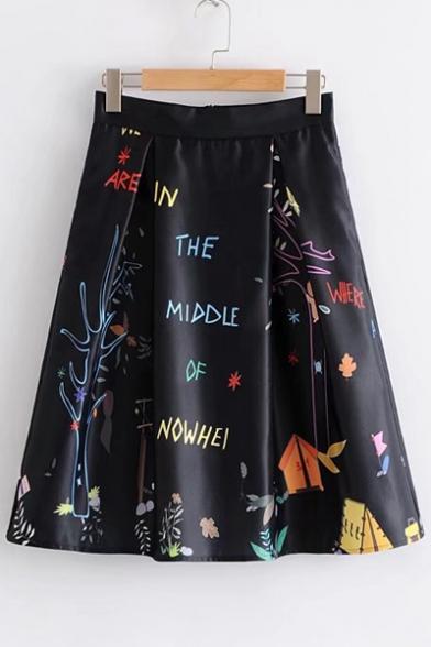 Trendy Letter Print High Waist Zipper Back Midi A-line Skirt