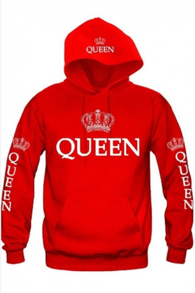 Unisex QUEEN Letter Crown Printed Long Sleeves Pullover Hoodie with Pocket