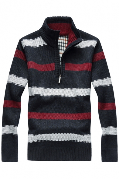 up Collar Stand Warm Pullover Striped Sweater Sleeves Block Long Color 6qEnanCwvx