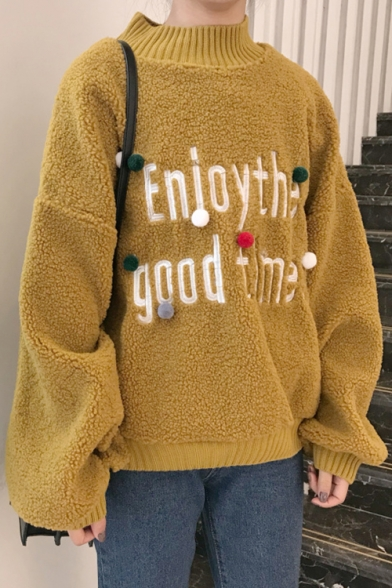 Pompoms Pattern Pullover Neck Crew Loose with Sleeves Letter Winter Over Sweater Collection Long Sized qROwpnxUa