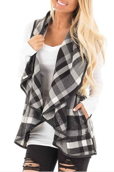 Plaid Front Waterfall Vest Women's Open Sleeveless dq1dnP