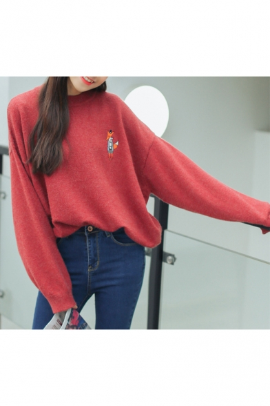 Pullover Embroidered Neck Cartoon Sweater Batwing Fox Round Long Sleeve px440Oq