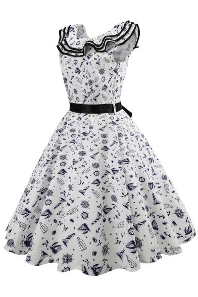 Flare Fit Neck Ruffle Print Midi Hem Sleeveless amp; Dress Cartoon Round q8gYP