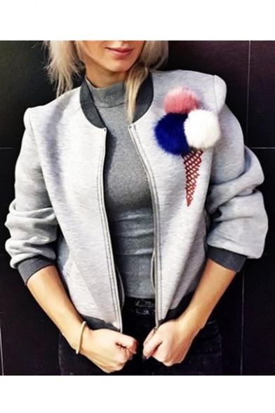 Chic Furry Pom Pom detail Zippered Baseball Jacket with Double Pockets