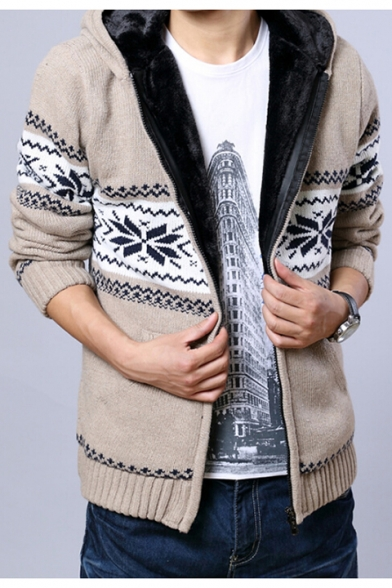 Cardigan Snowflake Fur Sleeves Pattern Geometric Long Chic Zippered Padded Hooded OqvwzAc