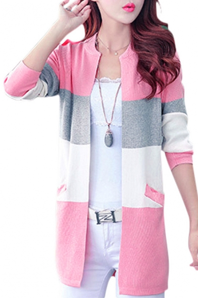 Long Sleeve Buttons Neck Round Down Block Color Cardigan w7FqxBgH