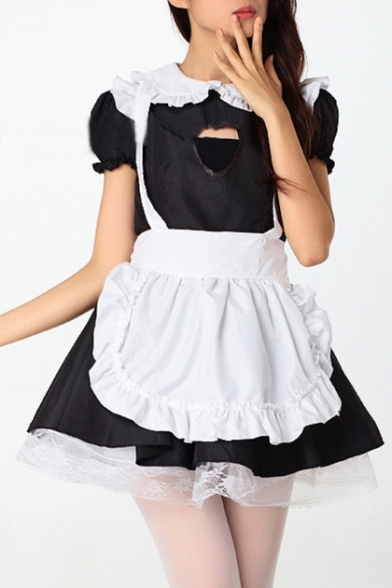 Cosplay Maid Peter Pan Collar Sweetheart Cutout Flared Mini Monochrome Ruffle Dress with Apron