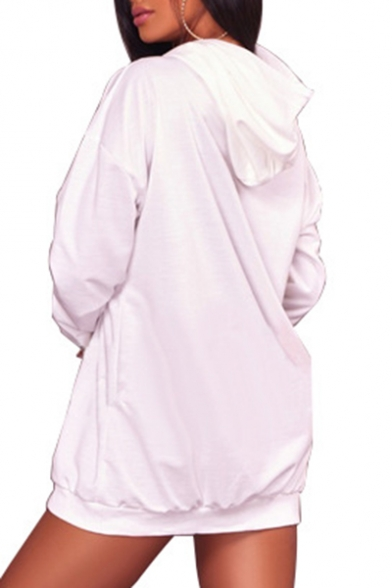 Cute Cartoon Tiger Print Long Sleeve Drawstring Hood Tunic Hoodie