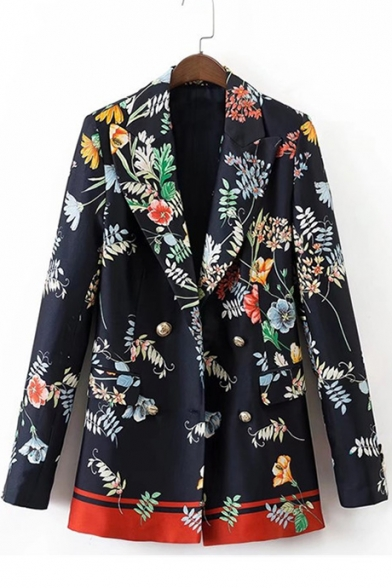 Fashion Floral Print Double Breasted Notched Lapel Leisure Tunic Blazer