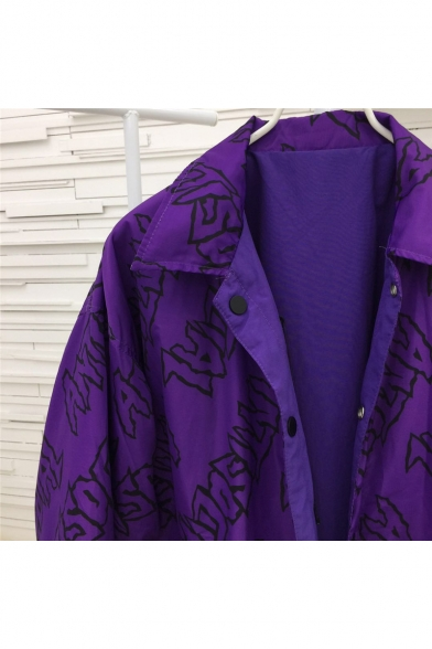 Fashion Reversible Letter Graphic Print Long Sleeve Tunic Windproof Coat
