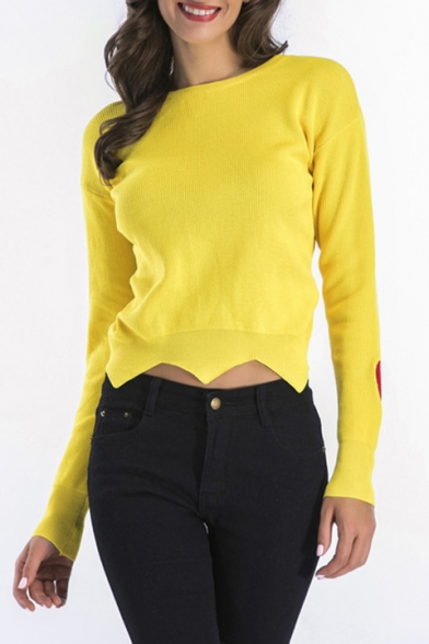 04b6d8004fb Heart Shape Embroidered Long Sleeve Round Neck Asymmetric Hem Pullover  Sweater ...