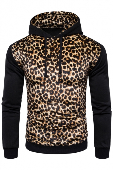 Hot Fashion Color Block Leopard Print Long Sleeve Hoodie