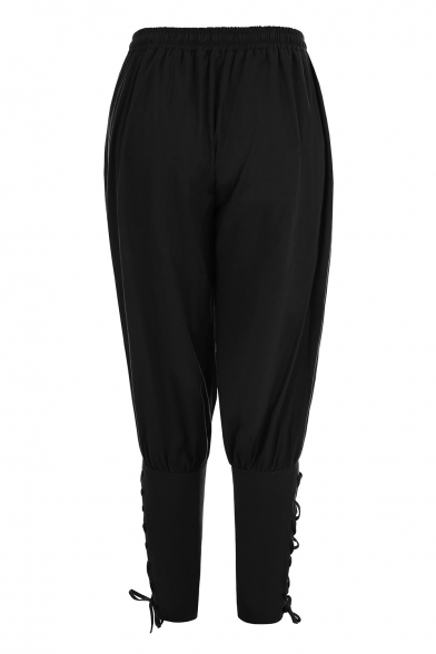 Hot Fashion Drawstring Waist Attached Straps Legs Tapered Pants