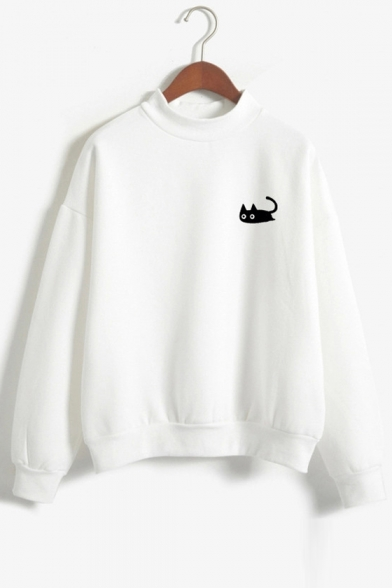 Leisure Cat Cartoon Embroidery Round Neck Long Sleeves Pullover Sweatshirt