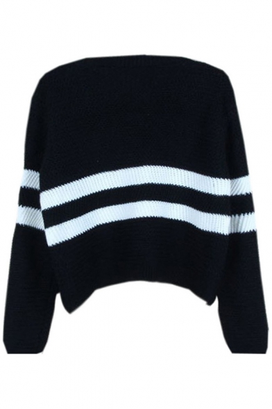 Sweater Neck Sleeves Pullover Loose Cropped Striped V Double Leisure Long Knitted fOaxSnPqw