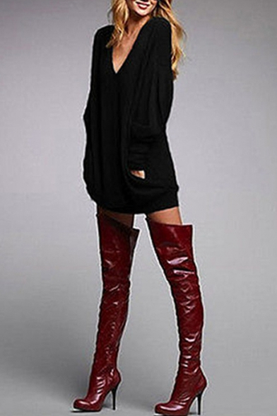 Leisure V-Neck Long Sleeves Draped Front Loose Over-Sized Mini T-shirt Dress