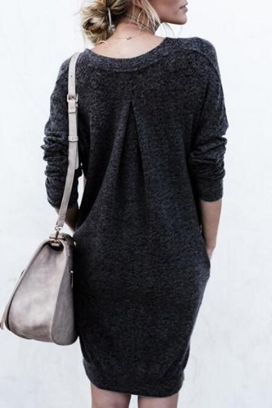 Leisure V-Neck Long Sleeves Split-Side Hem Fur Fluffy Pullover Mini Sweater Dress