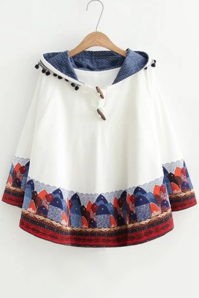 Pom Fish Cape New Hooded Arrival Pom Detail Batwing Cute Print wqHxBYpZ