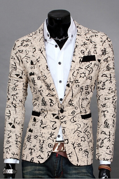 New Stylish Print Long Sleeve Single Button Notch Lapel Split Back Blazer