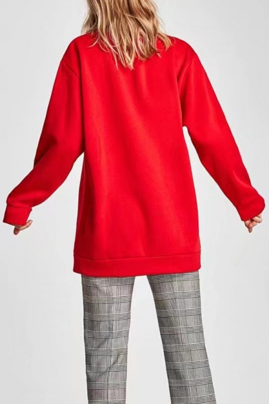 Sequined Embellished Letter Print Long Sleeve Round Neck Tunic Pullover Sweatshirt
