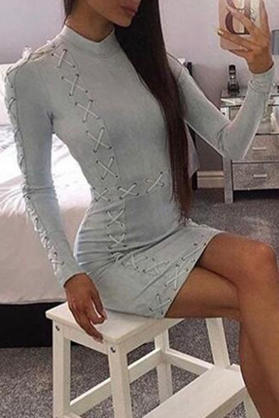 Sexy Mini Collared Dress Detail String Long Sleeve Bodycon RvrqFR