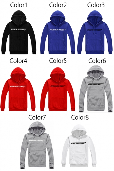 Sleeves Simple Letter Pattern Pullover Long Pocket Hoodie with qSZgpS7