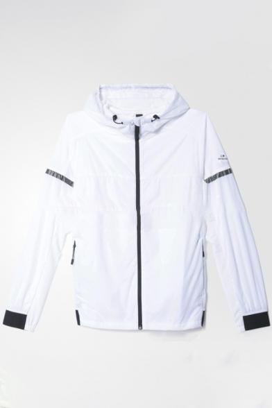 Striped Side Long Sleeve Zipper Hooded Sun Proof Coat