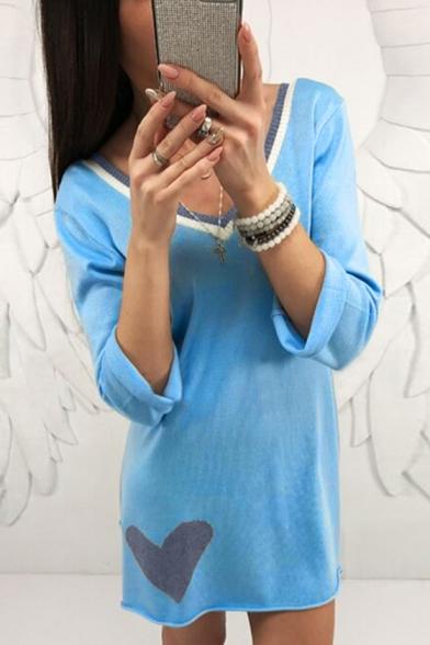 Mini Dress Stylish Sleeve V Trim Neck Striped Heart Long Pattern wwaqfgC