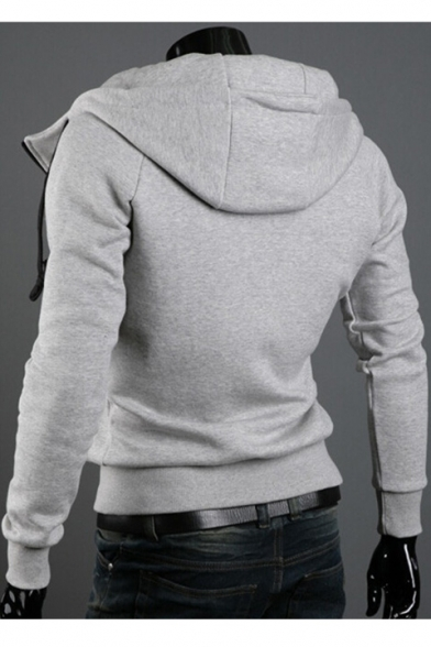 Long Hoodie Sleeves Zippered Buttons with Sports Pockets Stylish Plain amp; qgEwS