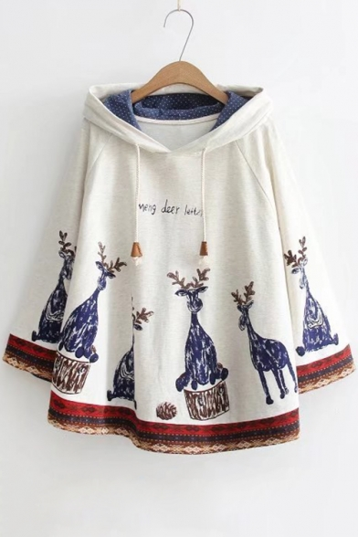 Trendy Letter Deer Printed Drawstring Hooded Batwing Sleeves Cape
