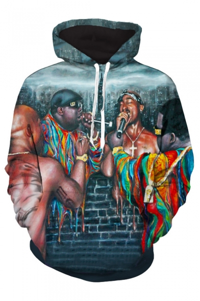 Unique Rapper Hip-Hop Colorful Brick Wall Printed Long Sleeves Pullover Hoodie with Pocket