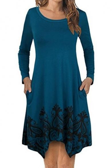 Women's Fashion Tribal Print Round Neck Long Sleeve Asymmetric Hem Swing Mini Dress