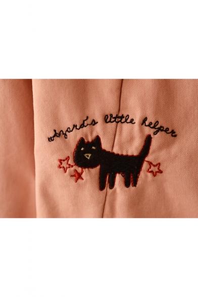 Cartoon Cat Pattern Long Sleeve Single Breasted Tunic Hooded Coat