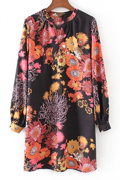 Chic Color Block Floral Pattern V-Neck Long Sleeve Leisure Mini Shift Dress